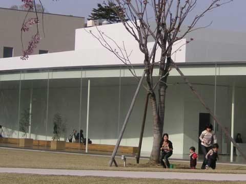 好天に恵まれ、金沢21世紀美術館の外の芝生上ではかわいい親子が日向ぼっこをしています。