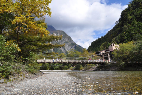 河童橋:上高地の中心部
