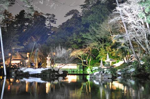 金沢・兼六園 夜間のライトアップ