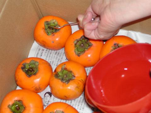柿のヘタにウィスキーを少しずつ付けています。<br />