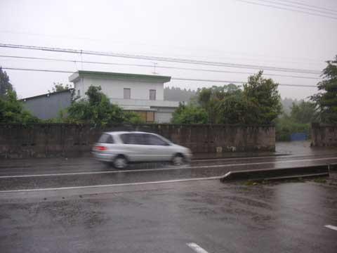 勢い良く降る梅雨時の雨