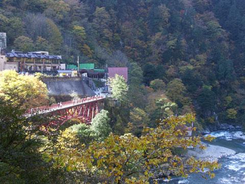 人喰岩から奥鐘橋と欅平駅を撮りました