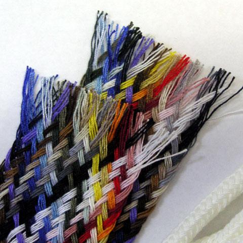 糸を数本ずつ編んだ紐の拡大写真