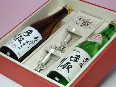 金賞受賞大吟醸酒と吟醸生酒あらばしり&グラスのセット 化粧箱入り 5,500円